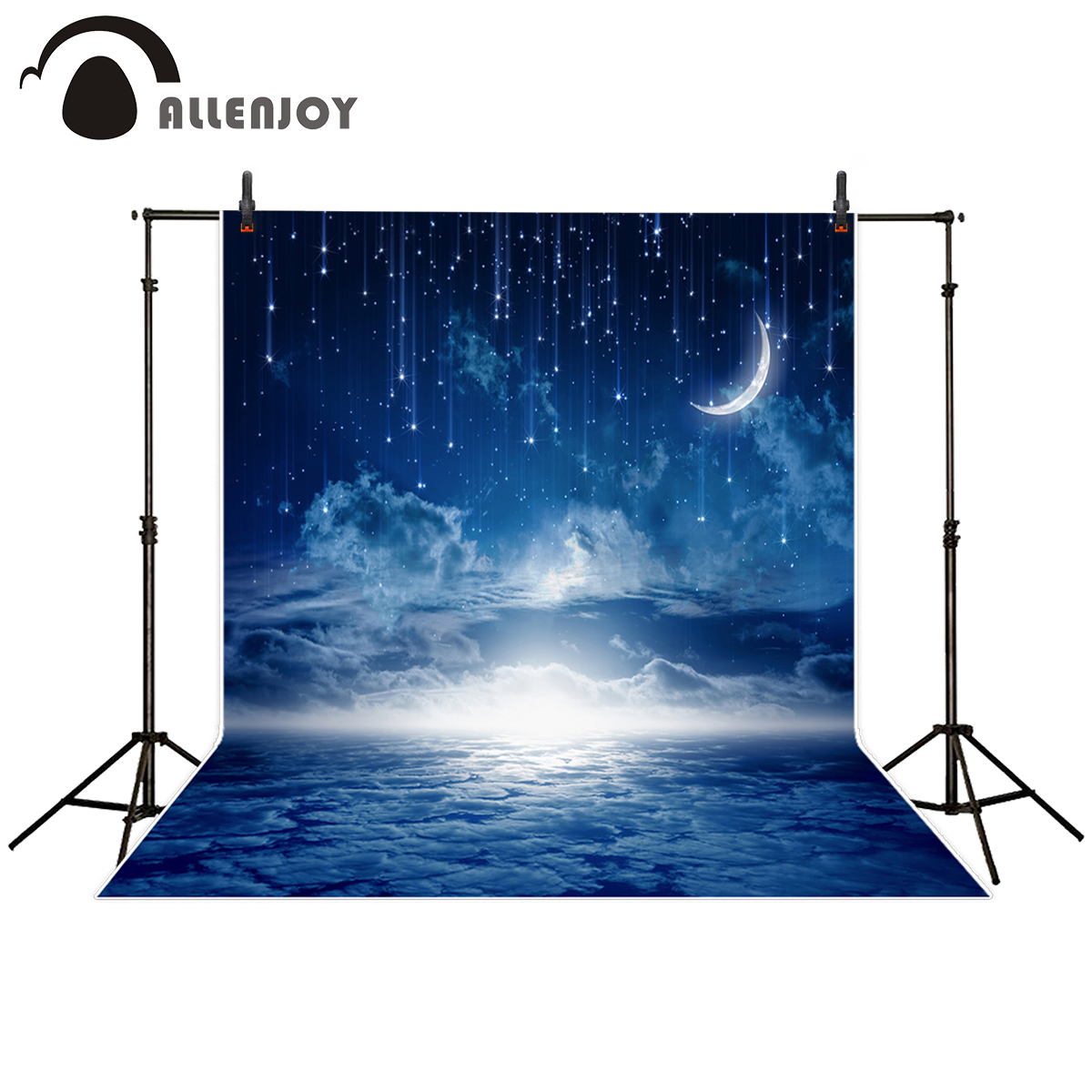 Allenjoy photography backdrop blue sky Meteor glitter crescent moon clouds Sea background for photo studio camera fotografica newborn photography background blue sky white clouds photo backdrop vinyl balloons scattered petals backgrounds for photo studio
