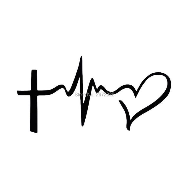 Download 10 x New Creative Car Styling Jesus Cross ECG Heart ...