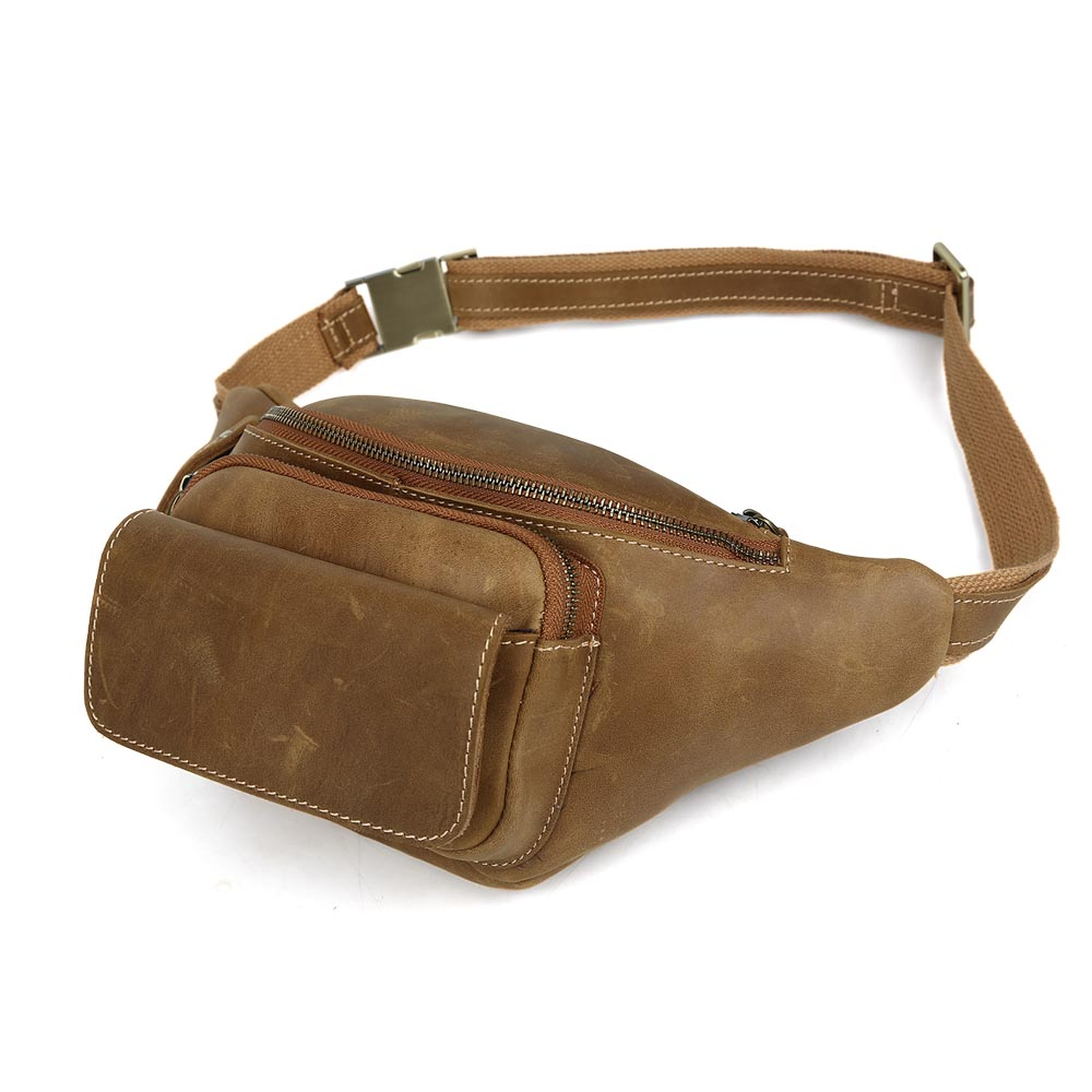 TIDING Genuine leather yellow waist bag for men military waist pack 3107