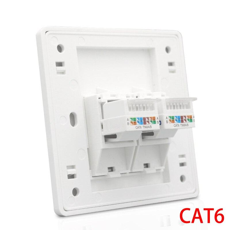 Белый цвет настенное покрытие Cat 6 Тип 2 порта RJ45 LAN настенная розетка Лицевая панель совместима для TP Link Xiaomi Router