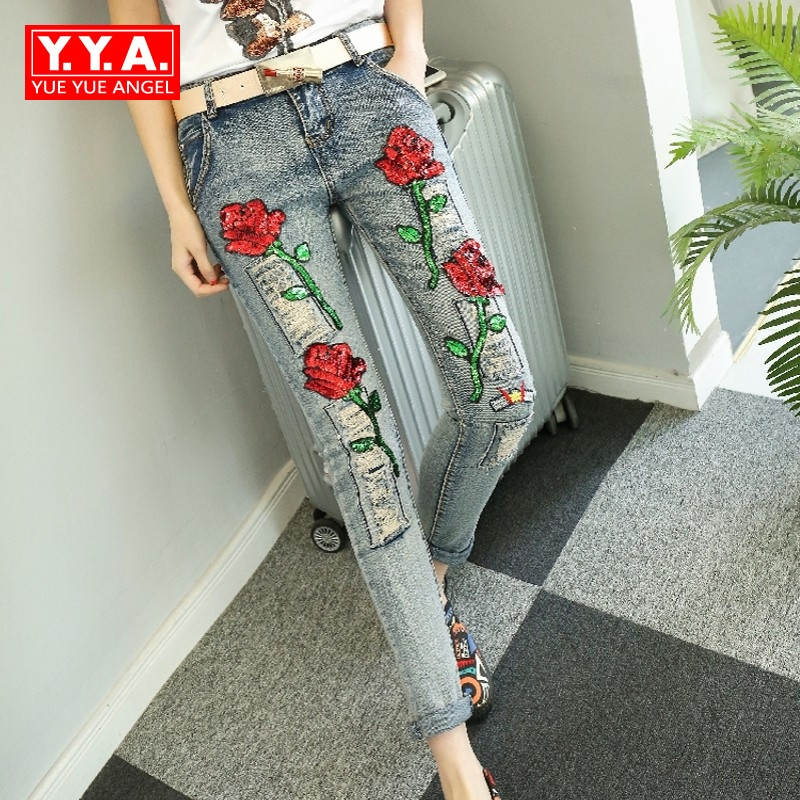 Autumn Winter New Hot Sale Sequins Fashion Floral Embellished Jeans Personalized Ripped Casual Scratches Womens Denim Pants hot sale halter beading sequins short homecoming dress