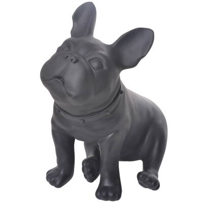 Black Plastic French Bulldog Dog Mannequin With Revolved Head For Display