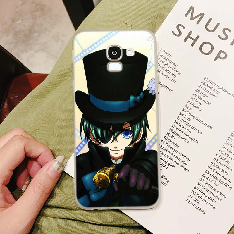 Silicone Case Black Butler Kuroshitsuji Printing for Samsung Galaxy j8 j7 j6 j5 j4 j3 Plus Prime 2018 2017 2016 Case Cover in Fitted Cases from Cellphones Telecommunications