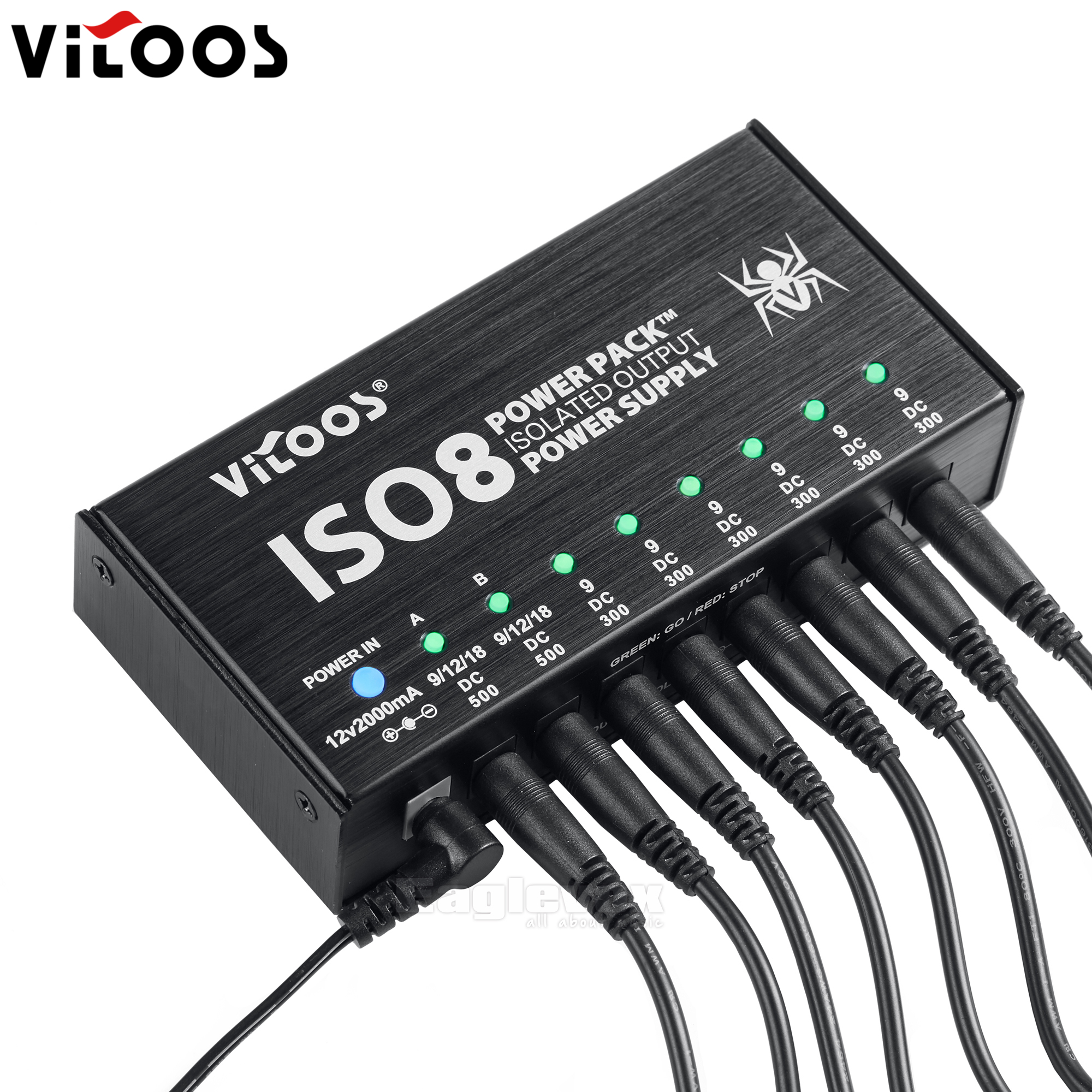 vitoos iso8 8 way guitar effect power supply with adjustable output fully isolated ground. Black Bedroom Furniture Sets. Home Design Ideas