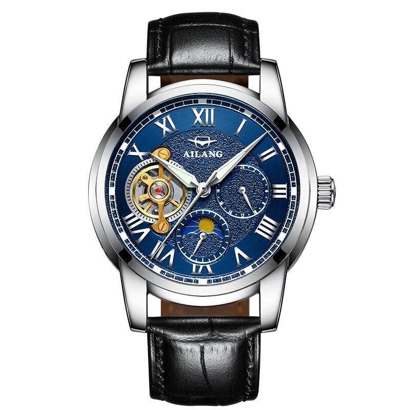 AILANG 8616 Switzerland watches men luxury brand automatic Tourbillon Moon phase Famous Brand Genuine Leather Strap Wrist Watch patek philippe sky moon tourbillon в самаре