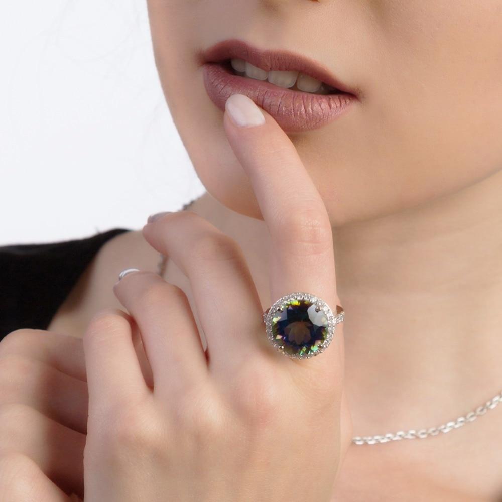 GEM'S BALLET 8.51ct ronde Noble naturel bleu mystique Quartz bijoux ensemble 925 Sterling argent boucles d'oreilles bague ensemble pour les femmes Fine-in Parures de bijoux from Bijoux et Accessoires    2