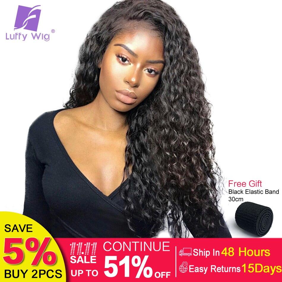 LUFFY 13x6 Partie Profonde Pré Pincées Bouclés Avant de Lacet Perruques de Cheveux Humains Avec Bébé Cheveux Pour Femmes Indien non Remy Cheveux 130% Densité