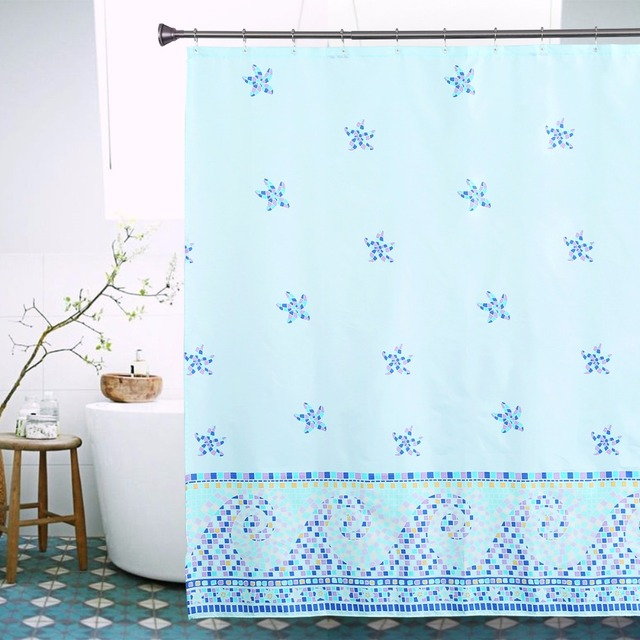 Starfish Seaside Theme Shower Curtain High Quality Modern Bathroom Home Decorative Bath Christmas Gift