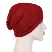 2019 kobiet elegancki rozciągliwy kapelusz Turban czoło krzyż indie kapelusz chusta na głowę kapelusz po chemioterapii jednolity kolor chustka muzułmańska chusta chusta hidżab