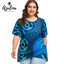 dccda420ebb20 AZULINA Plus Size Print Flutter Sleeve Overlap T-Shirt Women T Shirt 2018 O  Neck Short Sleeve Tops Tees Big Size Ladies Clothes