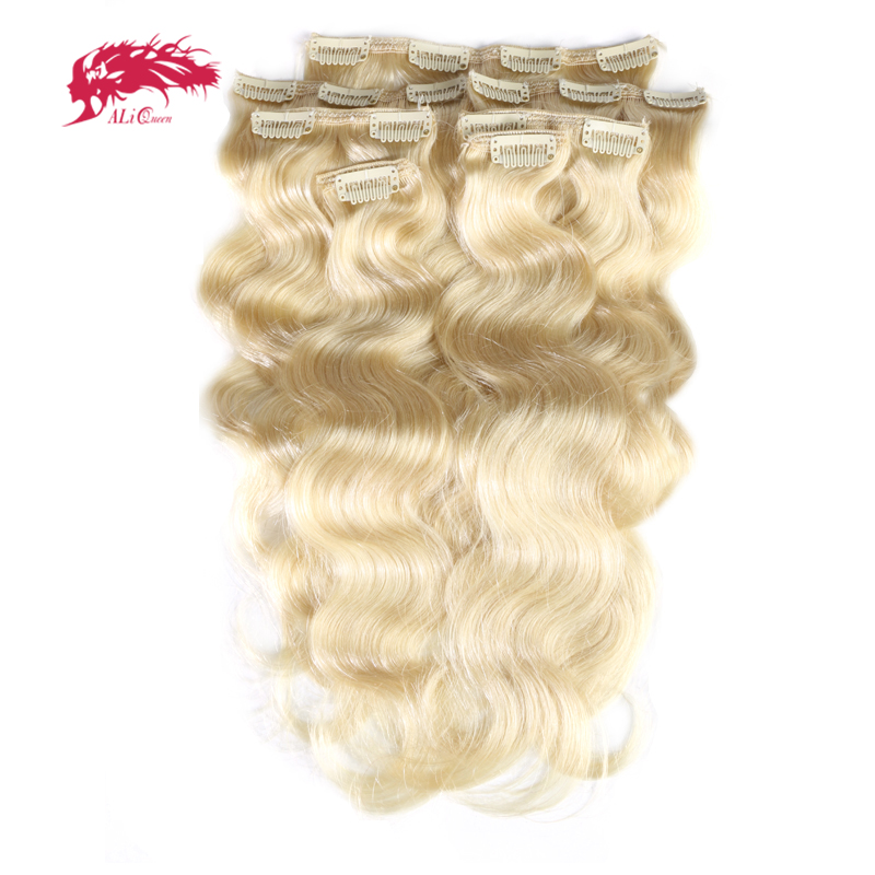 Ali Queen Hair 120Gram 7Pcs/pc Full Head Machine Made Remy Hair #1b/#613/#27 Body Wave Clip In Human Hair Extension(China)