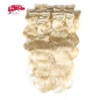 Ali Queen Hair 120Gram 7Pcs/pc Full Head Machine Made Remy Hair #1b/#613/#27 Body Wave Clip In Human Hair Extension