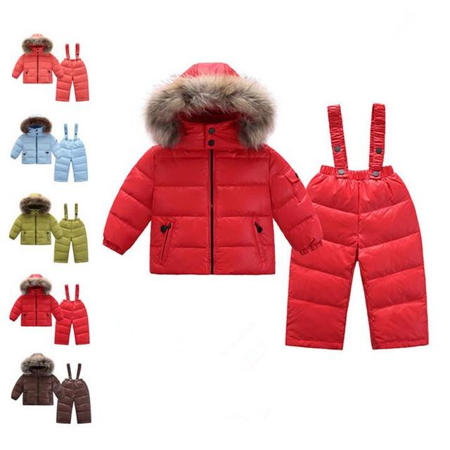 Rusia invierno Niños Que Arropan el sistema Niñas Abajo Chaqueta de 20 Grados Coat + abajo Trajes Traje Niños traje para la Nieve 2-6 Años Los Niños ropa