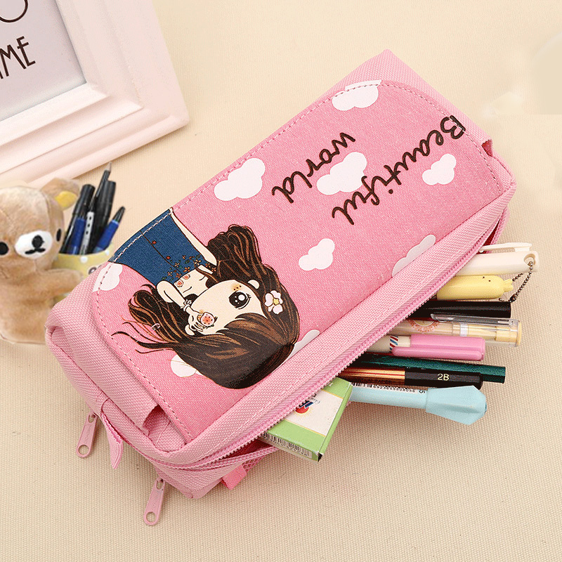 Cute Beautiful World Pencil Case Kawaii Girl School Supplies Canvas Pencil Bag Large Capacity Pen Bag Pouch Student Stationery cute kawaii cartoon canvas roll pencil case lovely fabric roller girl pen bag for kids school