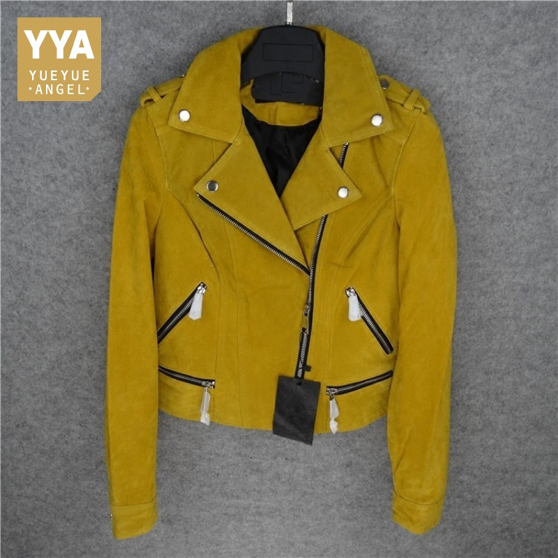 Hot Natural Pigskin Jacket Women Luxury Genuine Leather Short Coat Female Handsome Motorcycle Blue Yellow Jackets