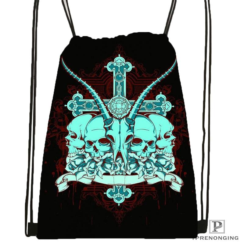 Custom Screaming Jesus Tattoo Design Drawstring Backpack Bag Cute Daypack Kids Satchel (Black Back) 31x40cm#180531-04-59
