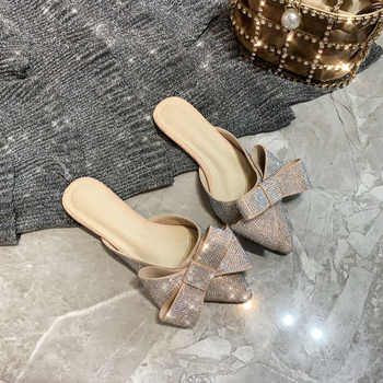 Pointed toe half slippers Female summer wear 2019 new fashion Rhinestone bow Lazy flat sandals Women\'s shoes
