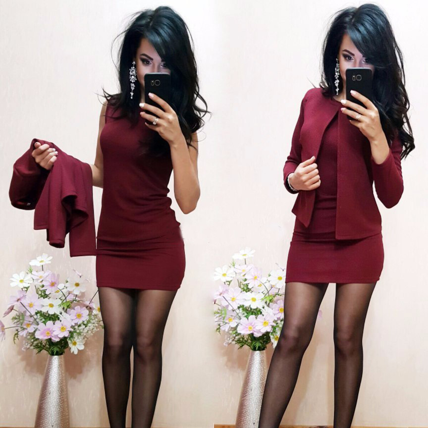 Fashion Autumn Suits Sexy Sheath O-Neck Above Knee Mini Dress Full Sleeve Casual Coat Two Pieces Women Sets