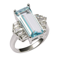 Factory Price Huge Aquamarine With Multi White Sapphire 925 Sterling Silver Ring For Women Size 6
