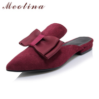 Meotina Mules Shoes Women Sandals Spring Summer Pointed Toe Flat Slippers Ladies Flat Shoes Wine Red