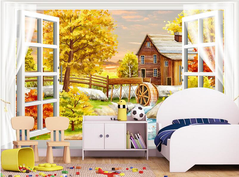 3d wallpaper custom mural non-woven 3d room wallpaper 3 d painting landscape outside the window  photo wallpaper for walls 3 d custom baby wallpaper snow white and the seven dwarfs bedroom for the children s room mural backdrop stereoscopic 3d