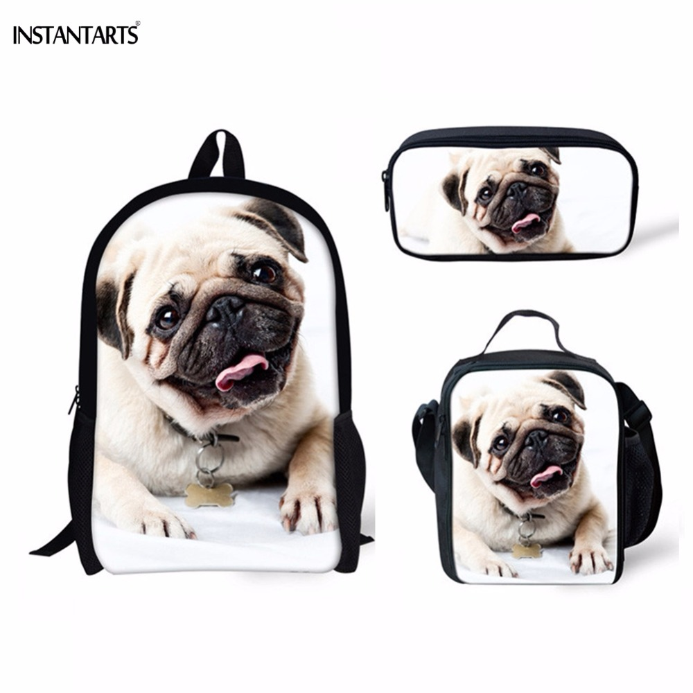 INSTANTARTS Funny 3D Animal Pug Dog Print Boys Girls Schoolbags Casual 3PCS Set Children Backpacks Primary Students Satchels Bag