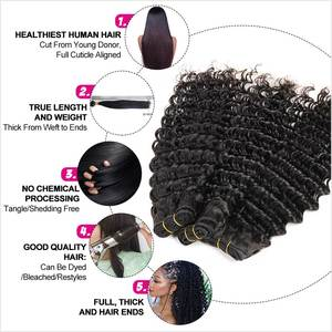 Image 3 - Ali Grace Brazilian Deep Wave Bundles With Closure 3 Bundles Human Hair Deep Wave with Swiss Lace Closure Remy Hair Deep Wave