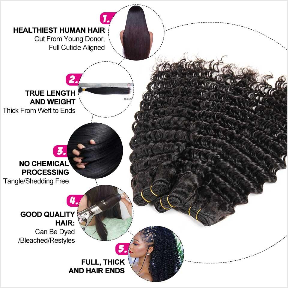 Image 3 - Ali Grace Brazilian Deep Wave Bundles With Closure HD Lace Medium Brown 3 Bundles Human Hair Deep Wave with Closure Remy Hair-in 3/4 Bundles with Closure from Hair Extensions & Wigs