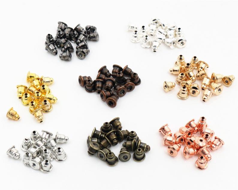 50pcs High Quality Bullet Earring Backs Classic 8 Colors Plated Metal Earring Back Plug Earring Settings Base Ear Studs Back