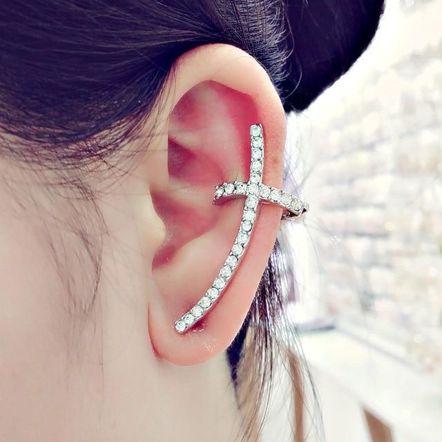 916 Hot Sale coreano Exquisite Sweet cristal austríaco cruz Ear Cuff clipe de ouvido brincos para mulheres meninas E4205