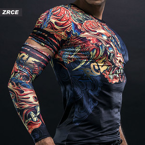 Image 4 - ZRCE 3D Dragon Print Gym Funny Clothing Quick Dry Fitness Joggers Men Fashion Sweatshirt With Arm Sleeve Stranger Things T Shirt