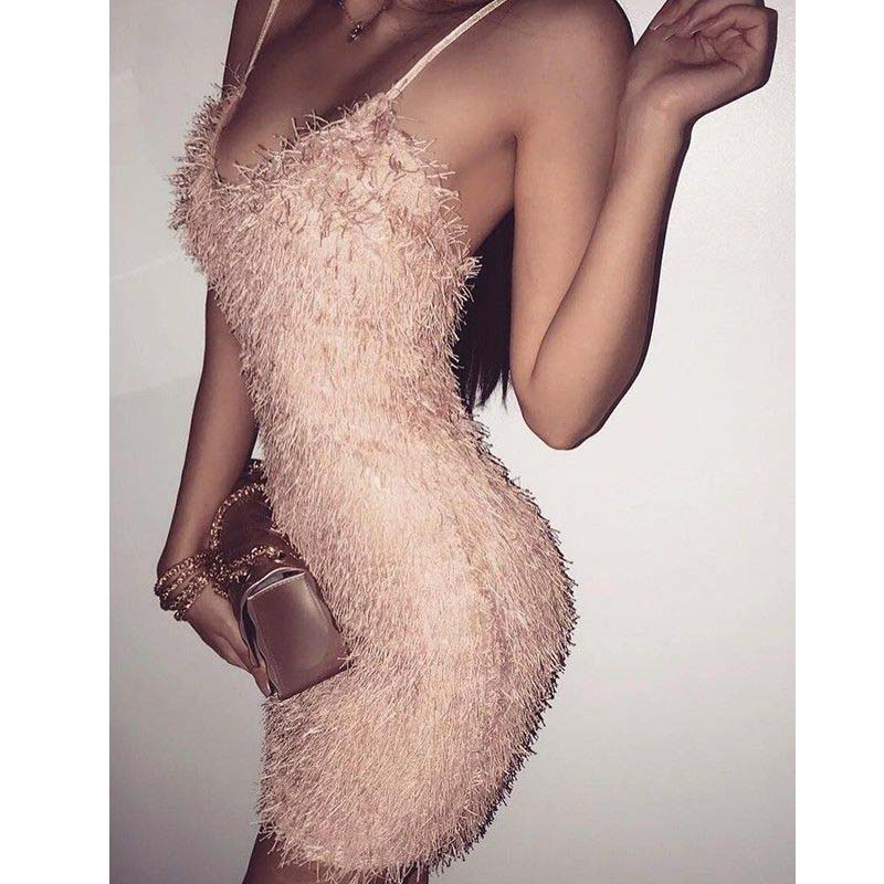 Sexy Women Bodycon Night Club Plush Dress Elegant Strappy Party Club Short Mini Dresses For Women Vestido|dress for|dress for womenmini dress - AliExpress