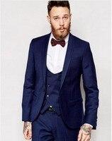 (Jacket + Pants + vest + tie) Azul Marinho 3 Peças Ternos de Casamento para Homens Único Breasted Noivo smoking Terno de Negócio Formal Dos Homens Ternos