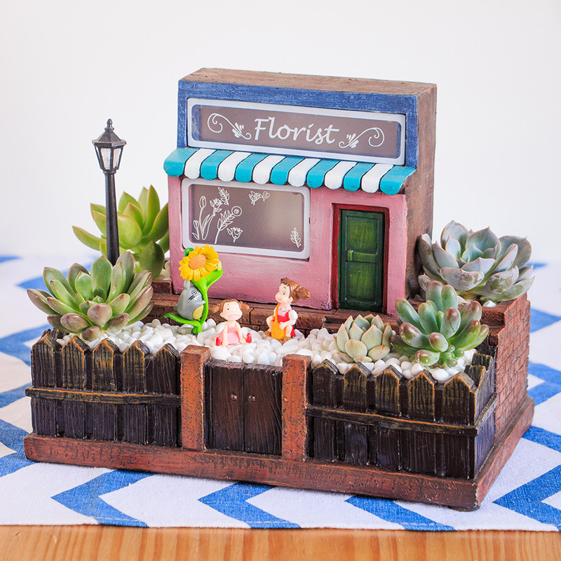 NCYP Fairy Garden Planter European Style Florist Flower Shop with LED Miniature with Wood Fence Flower pot Succulent Container in Flower Pots Planters from Home Garden