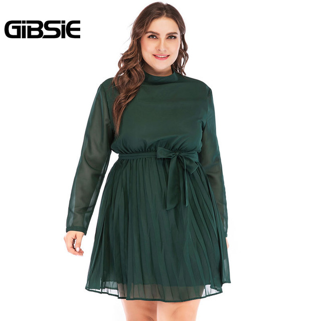 GIBSIE 5XL 4XL Plus Size Women Elegant Office Lady Spring Dress 2019 Solid Stand Collar Long Sleeve Chiffon Pleated Mini Dress 4