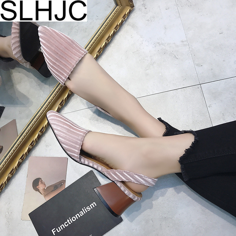SLHJC Summer Pumps Med Heels Pointed Toe Corduroy Women Square Heel Pointed Tow Sandals Shoes Spring Pumps Shallow Mouth 2018 spring summer low heel sandals pointed toe shallow mouth women shoes woman cozy casual shoes leisure single ladies shoes cy