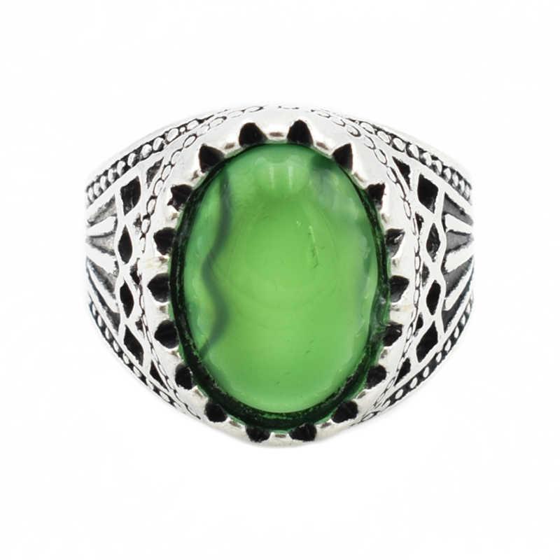 แฟชั่นหินสีเขียวแหวนเงิน Gothic Alloy Girl โบราณแหวนคู่เครื่องประดับสำหรับผู้หญิง