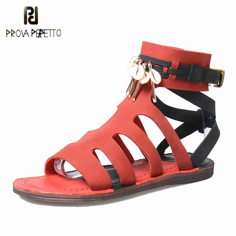 Prova Perfetto Metal Decoration Summer Gladiators Shoe Woman Flat Heel Sandal Real Leather Buckle Strap Hollow Out Women Sandals цены