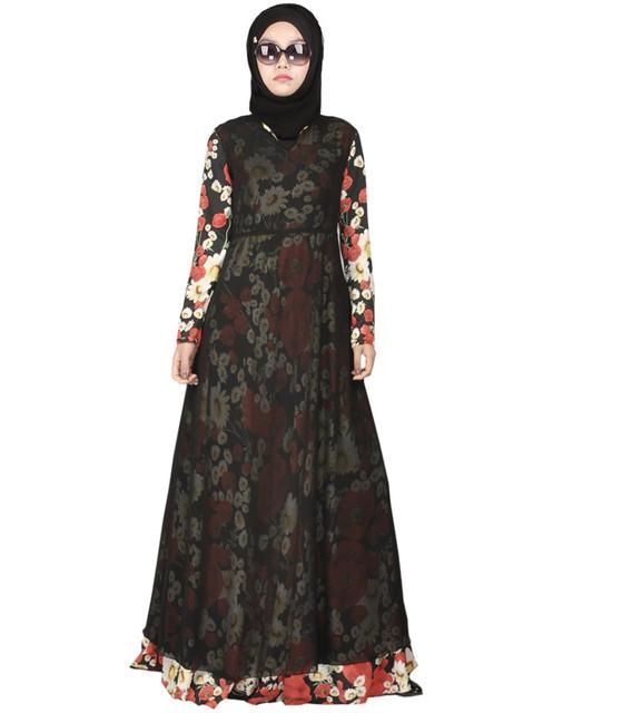 Moda Gasa Musulmán Ropa Islámica Para Las Mujeres Abaya Musulmán Jilbab Abaya en Dubai Chilaba Musulmane Bata Vestido de Estampado Floral