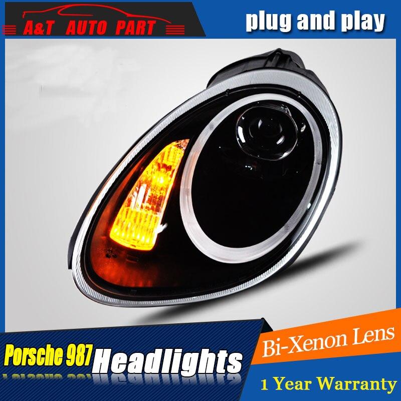 Auto Stile di Illuminazione Testa Della Lampada LED per Porsche 987 fari 04-08 per il 987 HA CONDOTTO occhi di angolo di drl H7 hid Bi-Xenon Lens basso del fascio