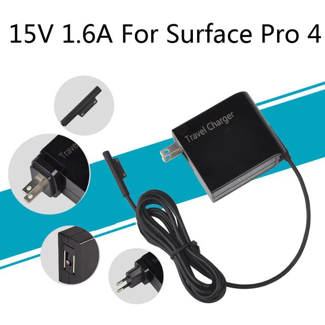 NOVA 24 W 15 V 1.6A fonte de Alimentação AC Adapter Cable Plug Latpop viagem Carregador de Parede para Microsoft Windows Superfície Pro 4 Pro4 Tablet