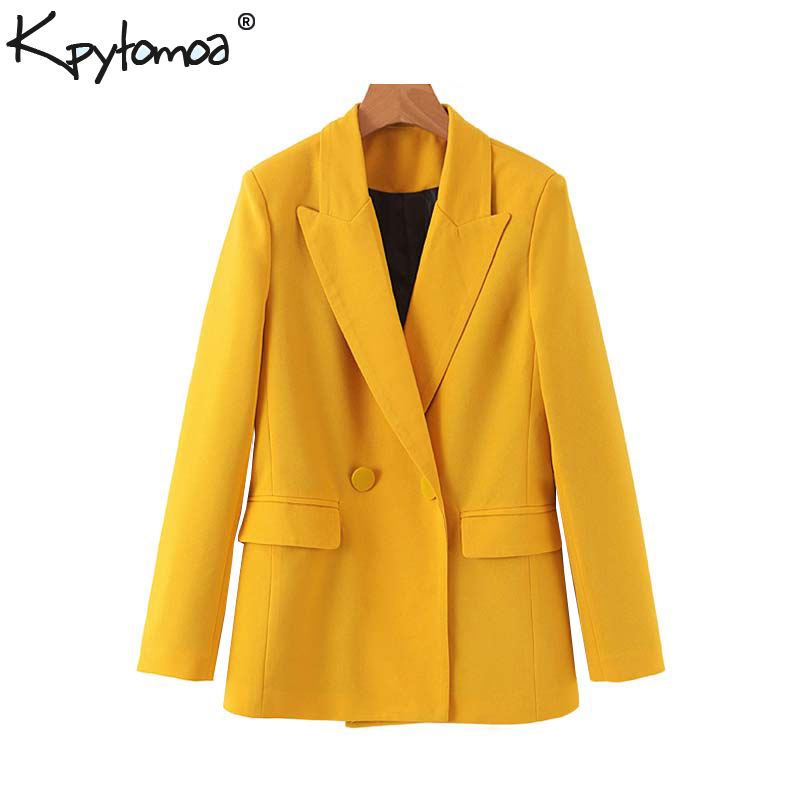 Vintage Stylish Double Breasted Pockets Blazers Coat Women 2020 Fashion Long Sleeve Office Lady Outerwear Casual Chaqueta Mujer