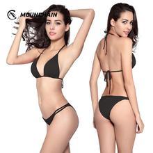 Bikini 2019 Sexy Women's Swimwear Solid Push-Up Brazilian Bandage Swimsuit Swimming Suit Bikini Set Lace Up Beachwear grommet lace up solid bikini set