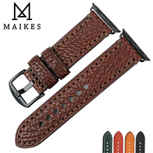 MAIKES Quality Watch Strap Genuine Leather Watch band For Apple Watch 44mm 40mm 42mm 38mm Series 4 3 2 1 iWatch Watchband maikes quality leather watchband replacement for apple watch band 44mm 42mm 40mm 38mm series 4 3 2 1 iwatch apple watch strap