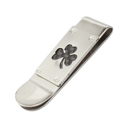5pcs( Jewelry Women Men Money <font><b>Clip</b></font>, Stainless Steel Carbon Fiber Inlay Clover Leaf Money <font><b>Clip</b></font>, billfold, Black Silver