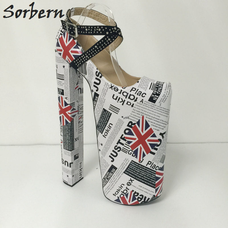 Sorbern Flag Ankle Boots Women Shoes 2017 New 14 Ultra High Heels 10 Thick Platform Pump Women High Heel Ankle Shoes Size 4 15