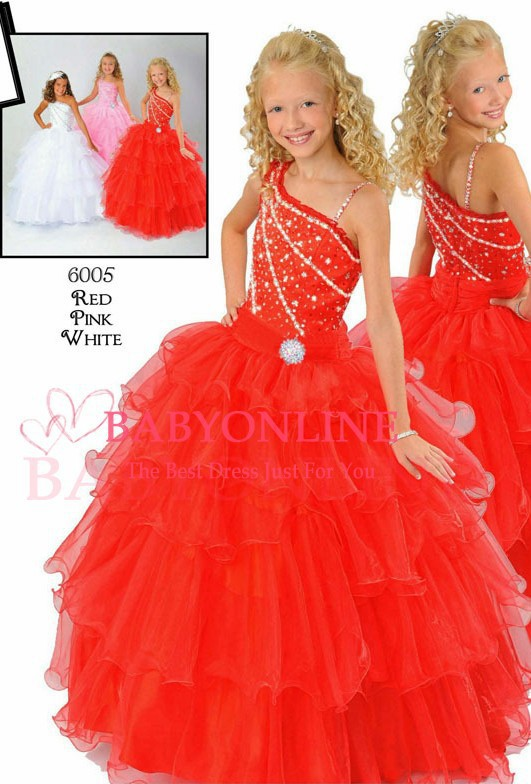 2019 New Arrival Beauty Red White Pink Tiered Organza Beaded Kids Pageant Ball Gowns For Little   Girls     Flower     Girl     Dresses