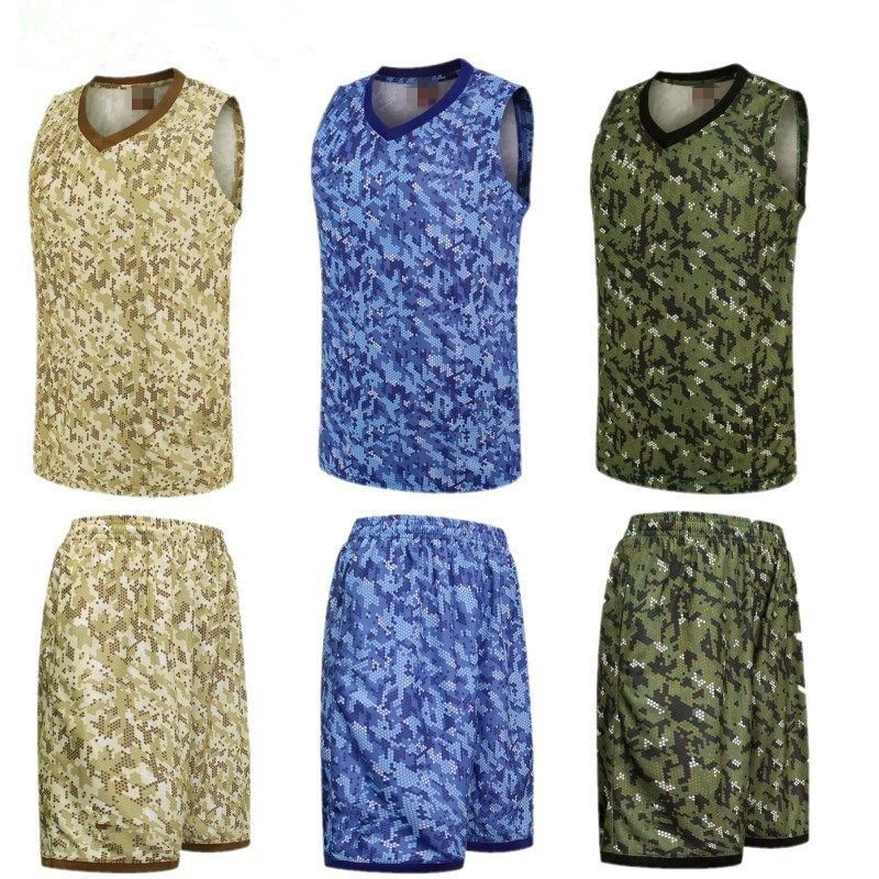 Camouflage Sport Training Team Uniforms Clothes <font><b>Suits</b></font> Kits Outdoor <font><b>Men</b></font> Sports Basketball Jerseys Set sleeveless T Shirt <font><b>Shorts</b></font> image