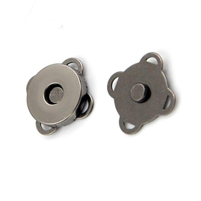 Купить с кэшбэком 50Pcs Magnetic Buckle Clasp Plum Blossom Flower Metal Clutch Coins Purse Bag Handbag Lock Part 14mm