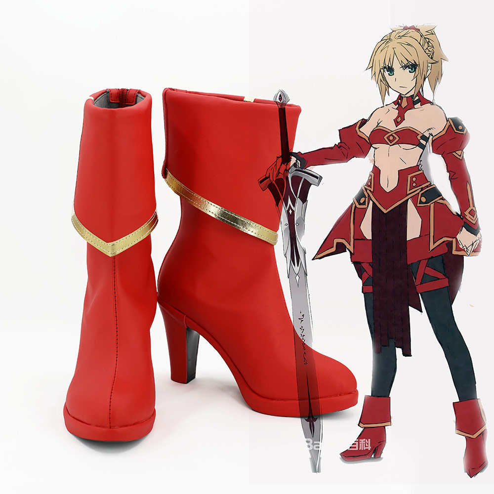 Fate Apocrypha Servant Mordred Cosplay Shoes FA Saber Red Cosplay Boots Halloween Cosplay Red Shoes Custom
